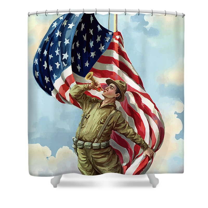 Ww1 Shower Curtain featuring the painting World War One Soldier by War Is Hell Store