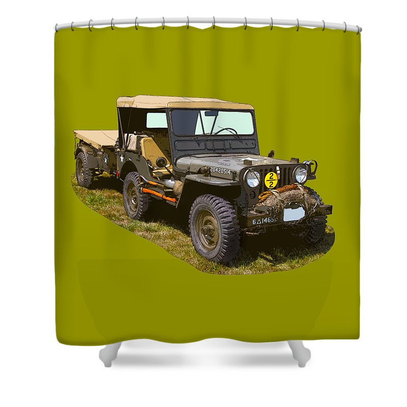 World War Two Shower Curtain featuring the photograph World War Two Army Jeep With Trailer by Keith Webber Jr