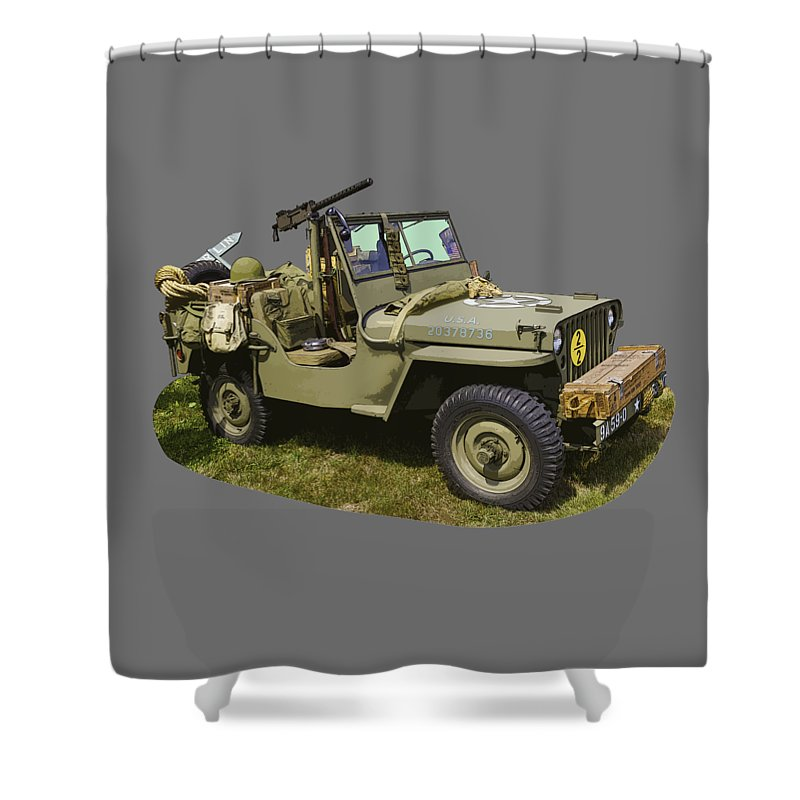 World War Two Shower Curtain featuring the photograph World War Two - Willys - Army Jeep by Keith Webber Jr