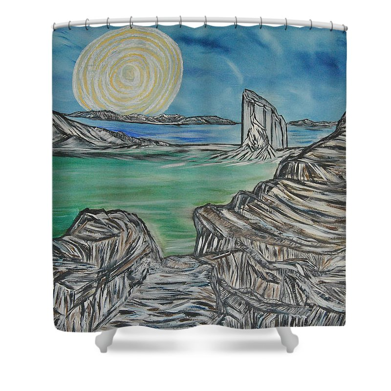 Landscape Shower Curtain featuring the painting Worlds Away by Suzanne Surber