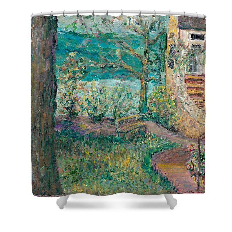 Big Cedar Lodge Shower Curtain featuring the painting Worman House At Big Cedar Lodge by Nadine Rippelmeyer