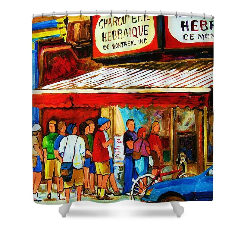 Montreal Streetscenes Shower Curtain featuring the painting Worth The Wait by Carole Spandau