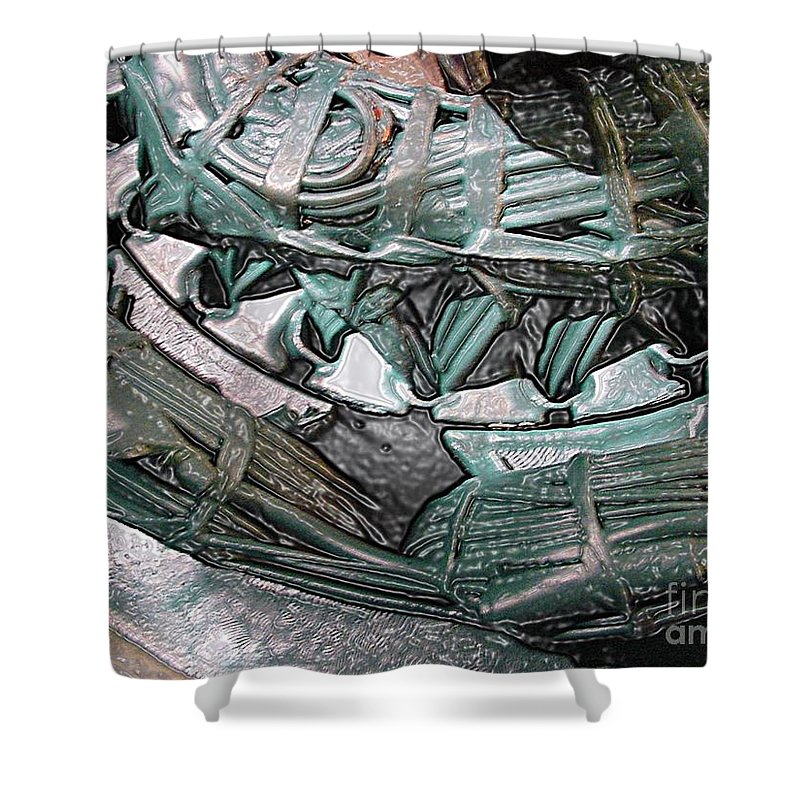 Digital Art Shower Curtain featuring the digital art Wound Tight by Ron Bissett