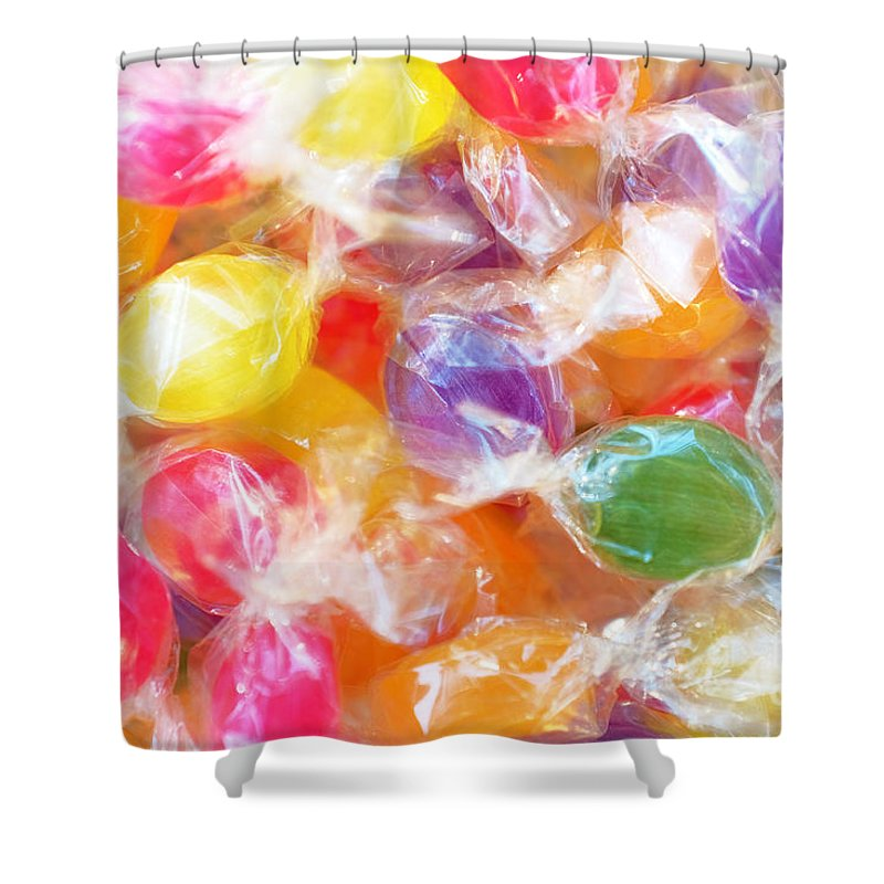 Plastic Shower Curtain Featuring The Photograph Wrapped Candies By Carlos Caetano