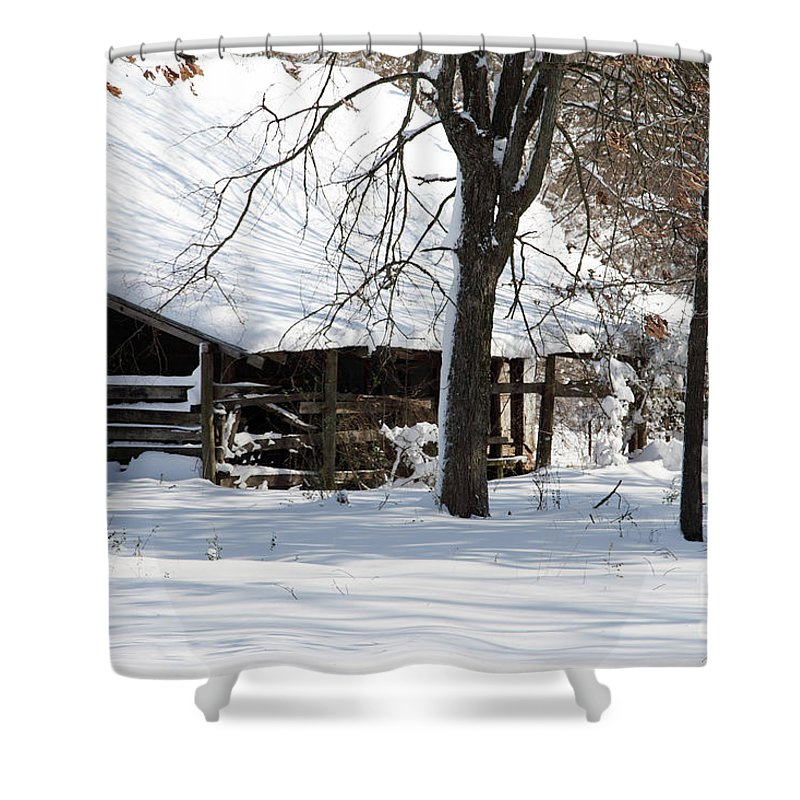 Rural Shower Curtain featuring the photograph Wrapped In Silence by Amanda Barcon