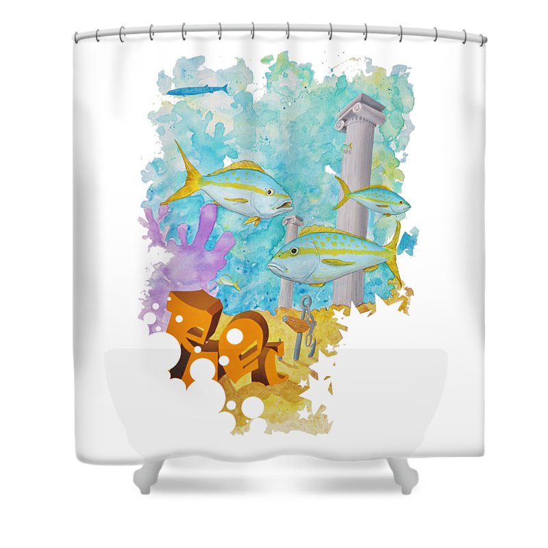 Yellowtail Shower Curtain featuring the painting Wrecked by Mutt Hubbard