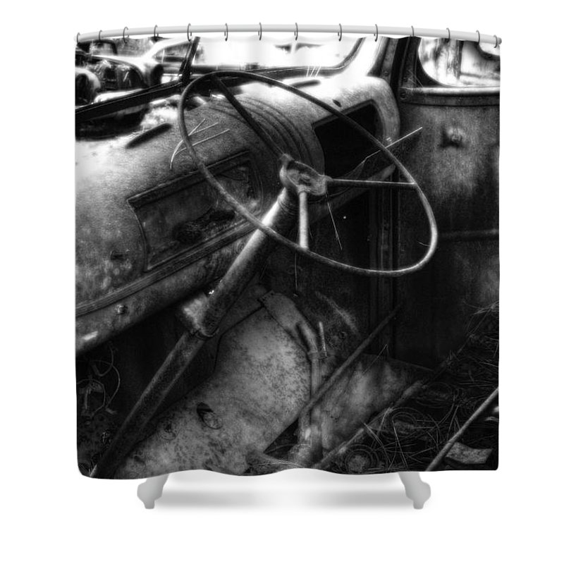 Automotive Shower Curtain featuring the photograph Wrecking Yard Study 10 by Lee Santa