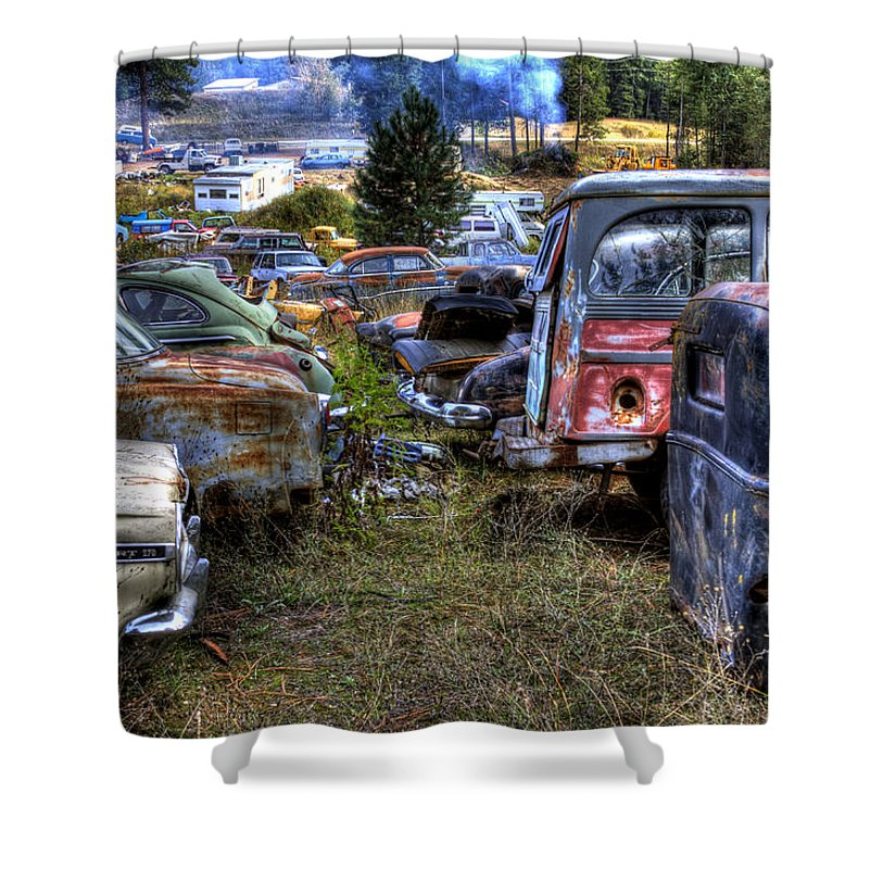 Cars Shower Curtain featuring the photograph Wrecking Yard Study 21 by Lee Santa