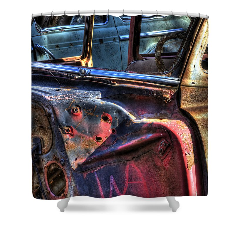 Automotive Shower Curtain featuring the photograph Wrecking Yard Study 6 by Lee Santa