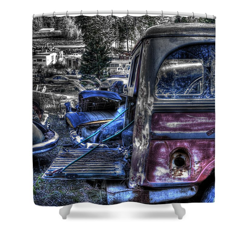 Automotive Shower Curtain featuring the photograph Wrecking Yard Study 9 by Lee Santa