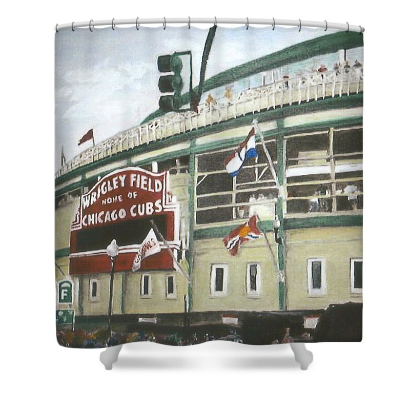 Wrigley Field Shower Curtain featuring the painting Wrigley Field by Travis Day