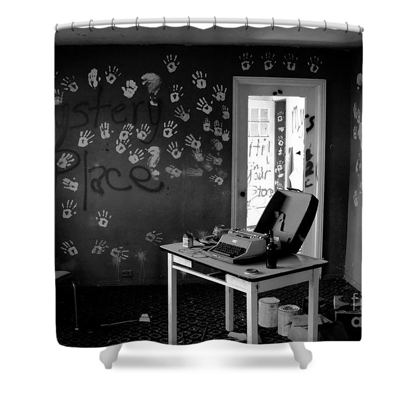 Writing Shower Curtain featuring the photograph Writers Station by David Lee Thompson