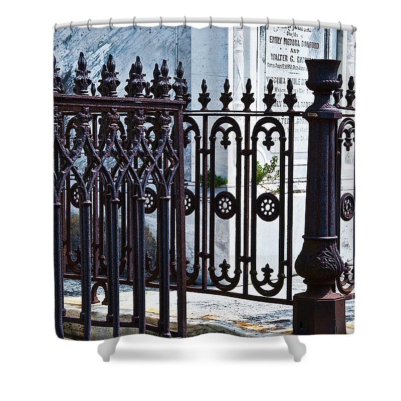 Iron Shower Curtain featuring the photograph Wrought Iron Cemetery Fence by Kathleen K Parker