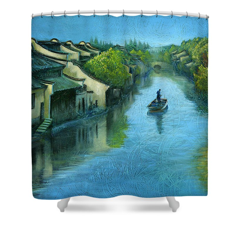 Time Art Shower Curtain featuring the painting Wuzhen Time by Time Lin