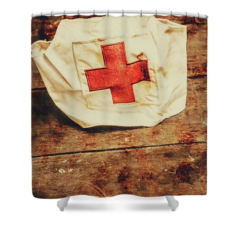 Vintage Shower Curtain featuring the photograph Ww2 Nurse Hat. Army Medical Corps by Jorgo Photography - Wall Art Gallery