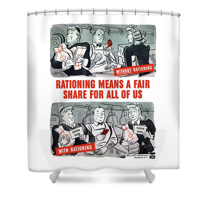 Rationing Shower Curtain Featuring The Painting Ww2 Cartoon By War Is Hell Store