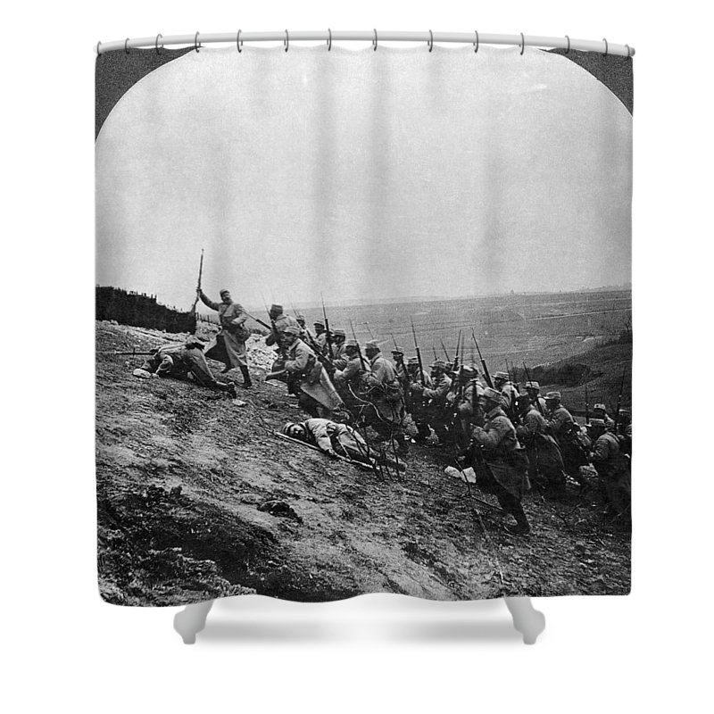 Army Shower Curtain featuring the photograph Wwi: French Attack by Granger