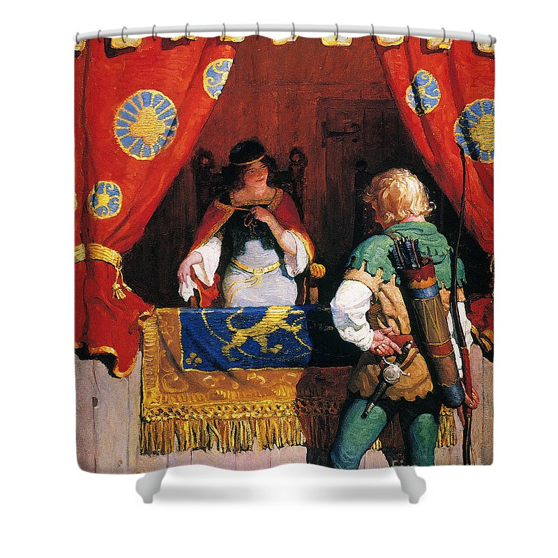 Shower Curtain featuring the painting Wyeth: Robin Hood & Marian by Granger
