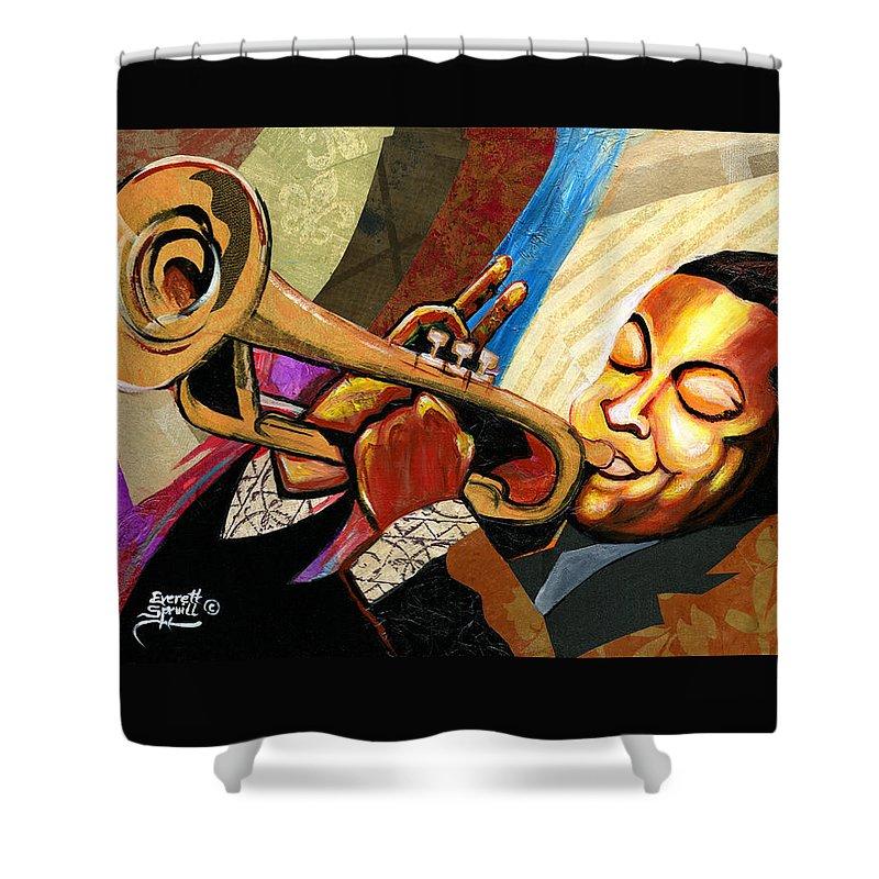 Everett Spruill Shower Curtain featuring the painting Wynton Marsalis by Everett Spruill