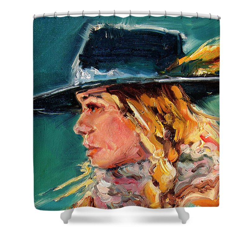 Cowgirl Shower Curtain featuring the painting Wyoming Cowgirl Close by Diane Whitehead