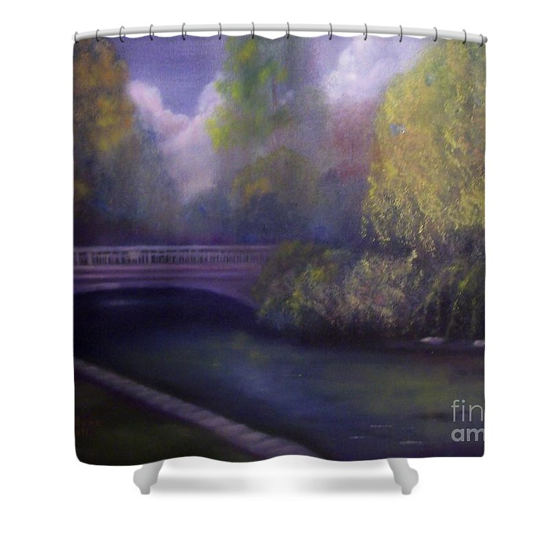 Bridge Shower Curtain featuring the painting Wyomissing Creek Misty Morning by Marlene Book