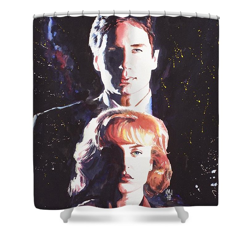 Television Shower Curtain featuring the painting X-Files by Ken Meyer jr