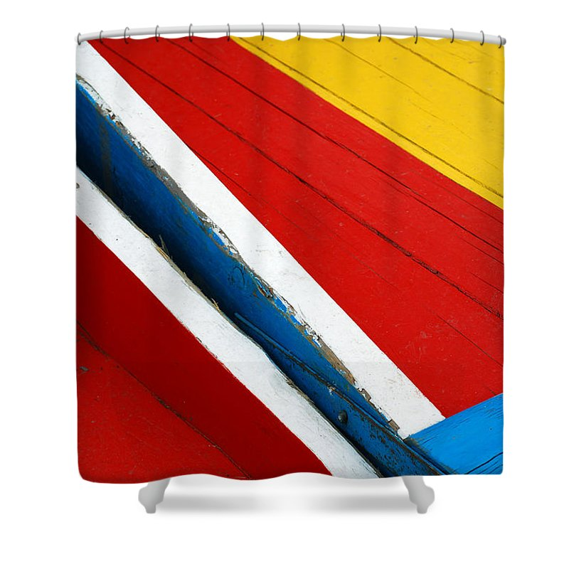 Red Shower Curtain featuring the photograph Xochimilco Boat Abstract 1 by Skip Hunt
