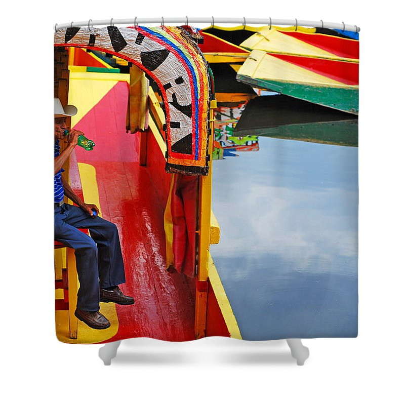 Skip Hunt Shower Curtain featuring the photograph Xochimilco by Skip Hunt