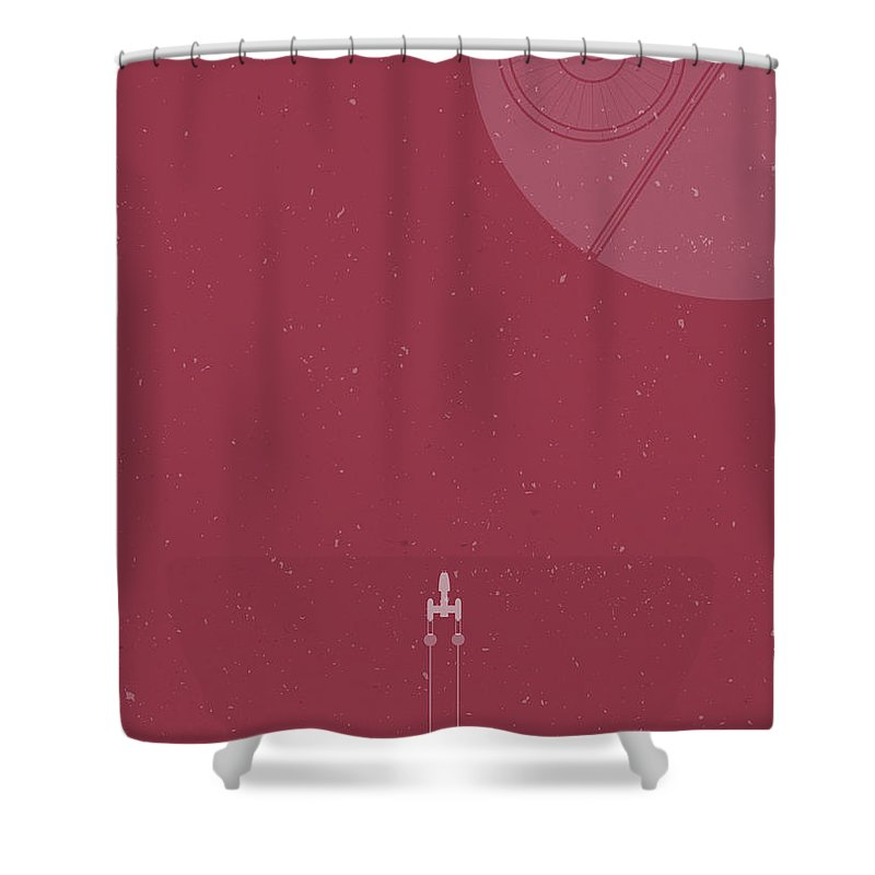 Y Wing Shower Curtain Featuring The Photograph Bomber Meets Death Star By