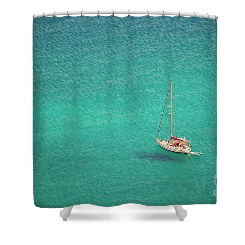 Seascape Shower Curtain featuring the photograph Yacht At Anchor by Simon Bradfield