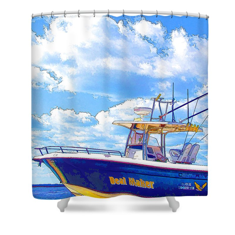 Afloat Shower Curtain featuring the painting Yacht by Jeelan Clark