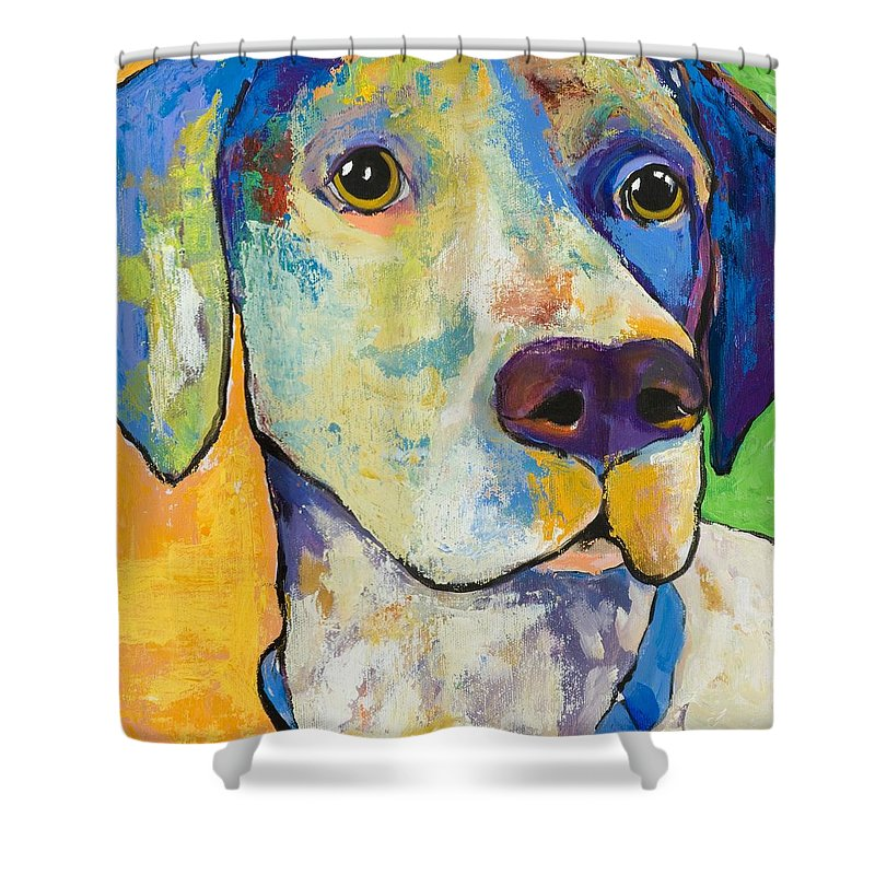 German Shorthair Animalsdog Blue Yellow Acrylic Canvas Shower Curtain featuring the painting Yancy by Pat Saunders-White