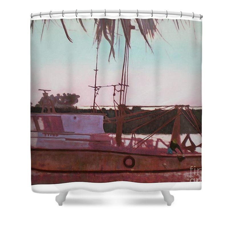 Seascape Shower Curtain featuring the digital art Yankee Town Fishing Boat by Hal Newhouser