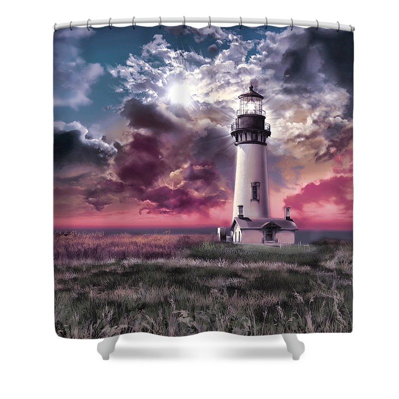 Lighthouse Shower Curtain featuring the painting Yaquina Head Lighthouse 2 by Bekim M