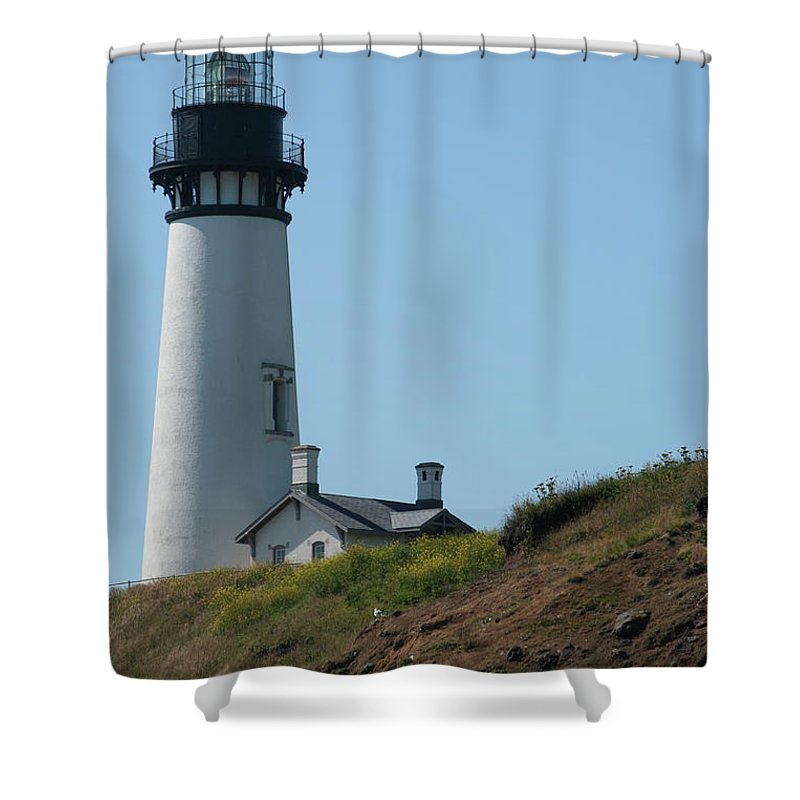 Lighthouse Shower Curtain featuring the photograph Yaquina Lighthouse by Laddie Halupa