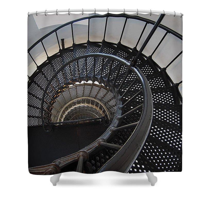Nautilus Shower Curtain featuring the photograph Yaquina Lighthouse Stairway Nautilus - Oregon State Coast by Daniel Hagerman