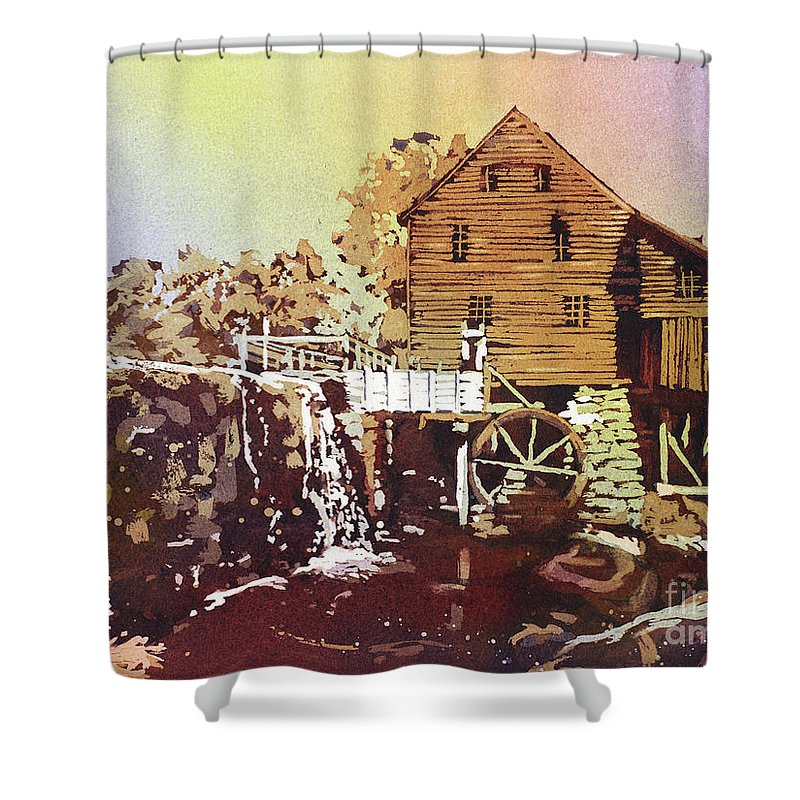 Clouds Shower Curtain featuring the painting Yates Mill Park by Ryan Fox