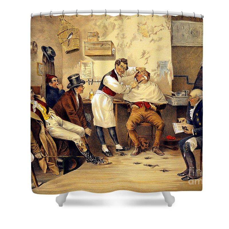 Occupation Shower Curtain Featuring The Photograph Ye Old Way Barbershop Shave 1885 By Science