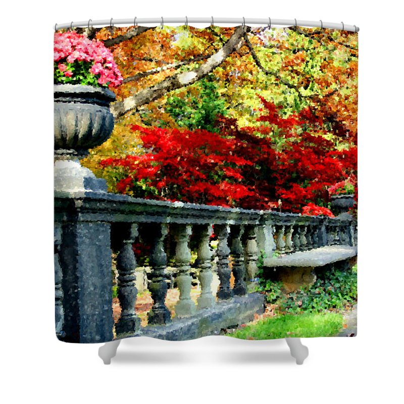 Rail Shower Curtain featuring the digital art Ye Olde Garden Bench by Kristin Elmquist