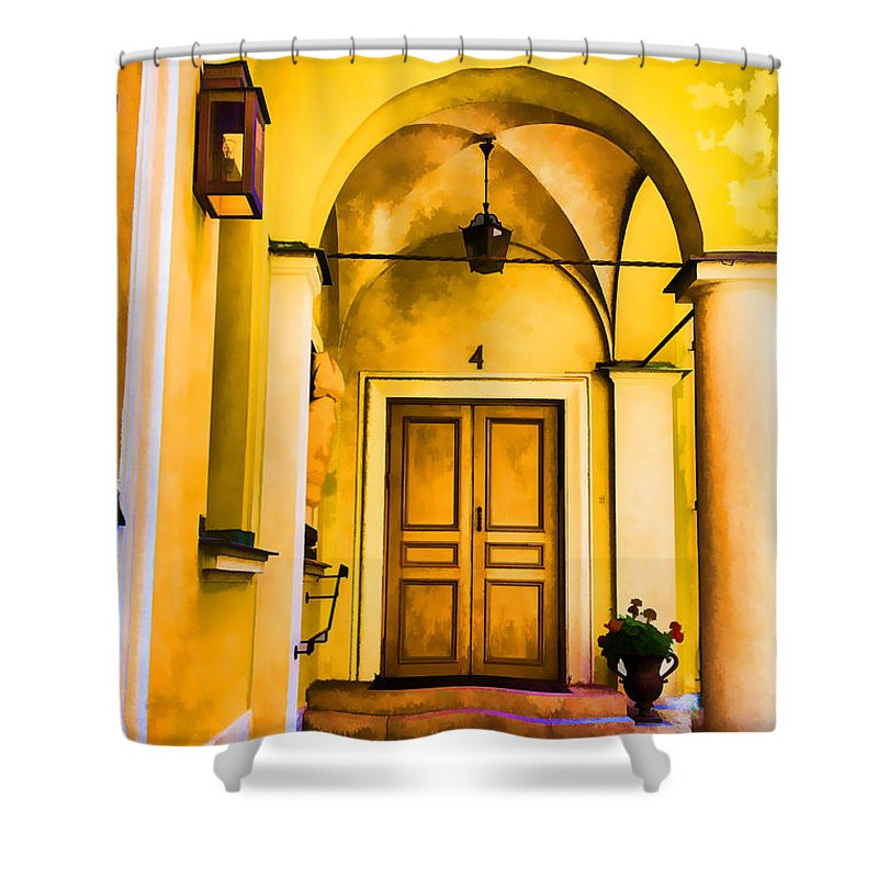 Sweden Orebro Old Achitecture Orebro Shower Curtain featuring the photograph Yell Hall And Door by Rick Bragan