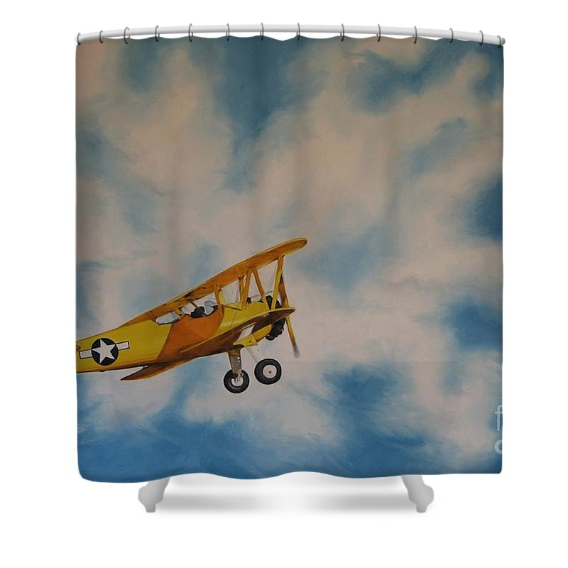 Noewi Shower Curtain featuring the painting Yellow Airplane by Jindra Noewi