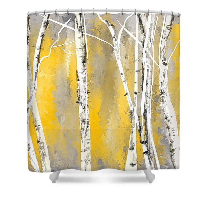 Yellow Shower Curtain Featuring The Painting And Gray Birch Trees By Lourry Legarde