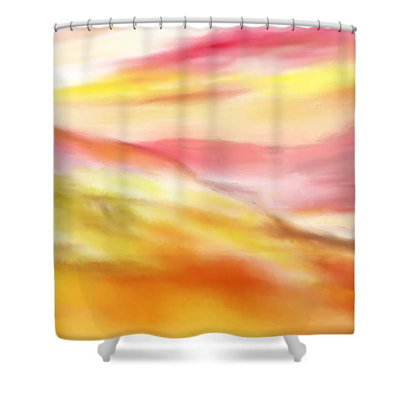 Digital Art Shower Curtain featuring the digital art Yellow And Red Landscape by David Lane