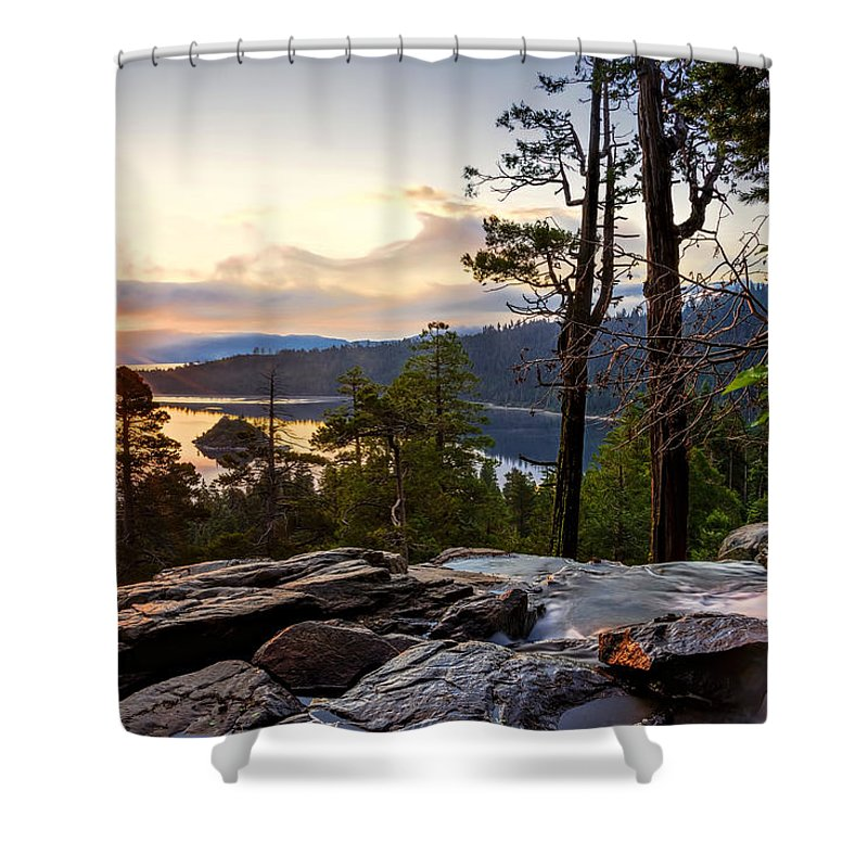 Bay Shower Curtain featuring the photograph Liquid Gold by Maria Coulson
