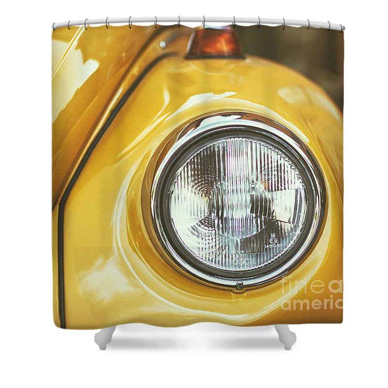 Vw Beetle Shower Curtain featuring the photograph Yellow Beetle by Marcus Lindstrom