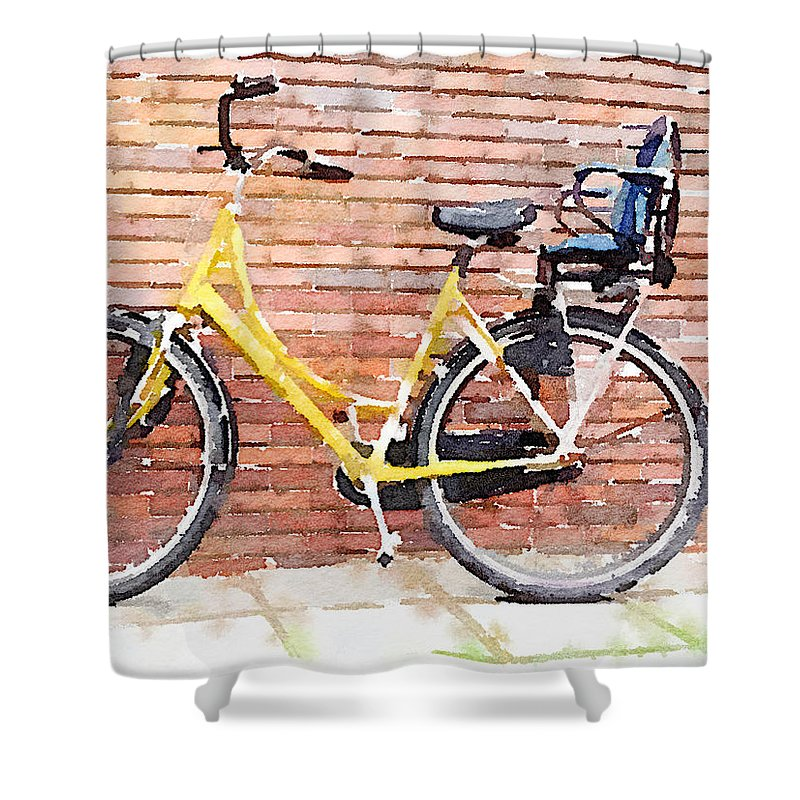 Water Colour Shower Curtain featuring the photograph Yellow Bicycle Digital Watercolour by Anita Van Den Broek