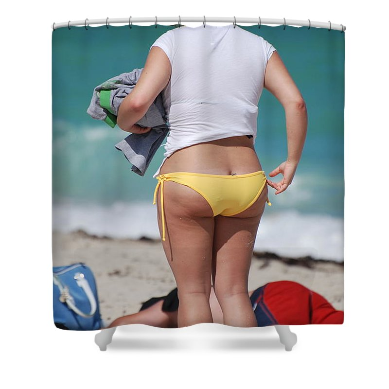 Sea Scape Shower Curtain featuring the photograph Yellow Bikini Bottom by Rob Hans
