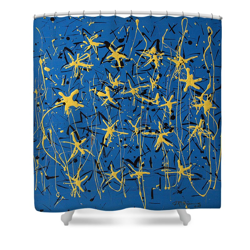 Abstract Painting Shower Curtain featuring the painting Yellow Blue by J R Seymour