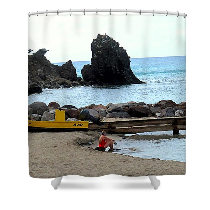 Beach Shower Curtain featuring the photograph Yellow Boat On The Beach by Ian MacDonald