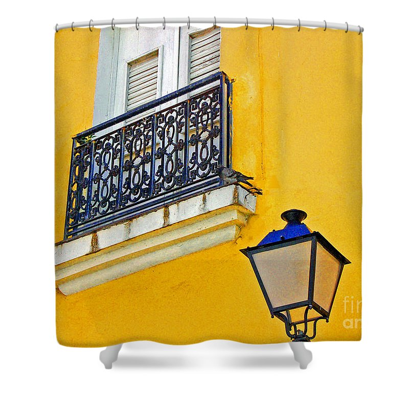 Pigeon Shower Curtain featuring the photograph Yellow Building by Debbi Granruth